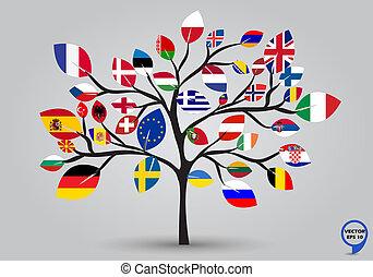 folha, bandeiras, de, europa, em, árvore, desenho