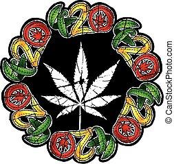folha cânhamo, desenho, marijuana