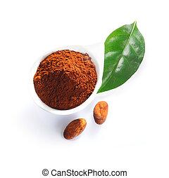 folha, cacao, feijões, pó