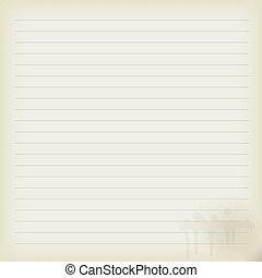 folha, caderno, antigas, em branco