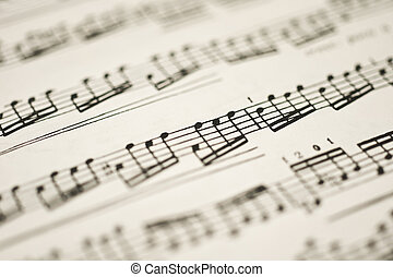 folha, clássico, vindima, notas, -, música