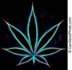 folha, coloridos, marijuana, ilustração, pretas, ícone