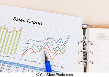 folha, de, vendas anuais, relatório, com, caneta azul