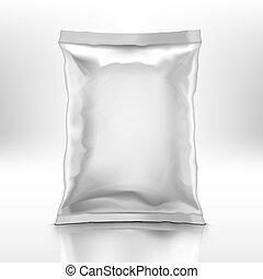 folha, doy, em branco, sombra, travesseiro, pacote