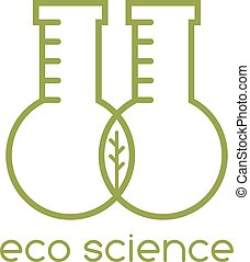 folha, eco, ciência, dois, vetorial, desenho, modelo, tubos teste