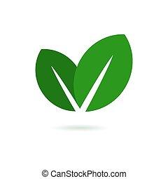 folha, eco, vetorial, verde, logo., ícone