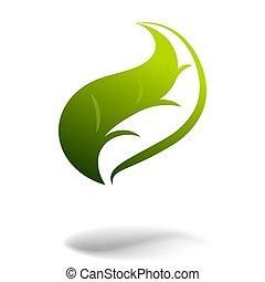 folha, ecologia, médico, outro, verde, logotipo, ícone, ou, design.