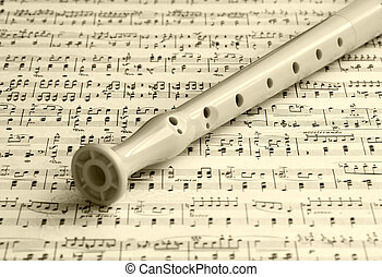 folha, flauta, música