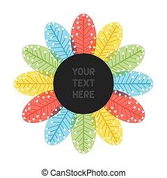 folha, flor, desenho,  retro, etiqueta