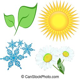 folha, flor, snowflake, sol