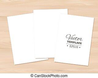 folha, fundo, madeira, papel, modelo, em branco