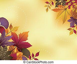 folha, fundo, outono