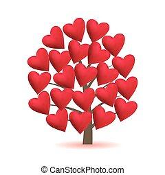 folha, illustration., amor, valentine, árvore, vetorial, hearts.
