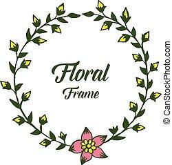 folha, ilustração, floral, vetorial, verde, bordas, desenho