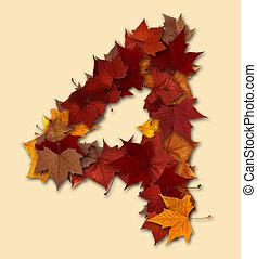 folha, isolado, multicolored, quatro, outono, número, composição