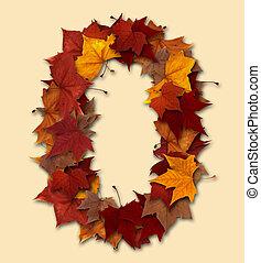 folha, isolado, multicolored, zero, outono, número, composição