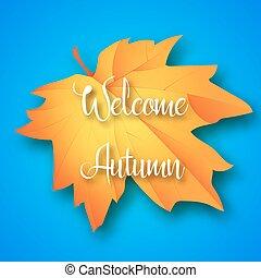 folha, lettering, azul, bem-vindo, maple, vetorial, experiência., illustration., outono
