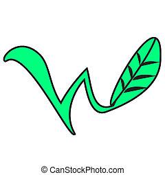 folha, logotipo, w