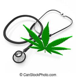 folha, médico, -, marijuana, cannabis, estetoscópio