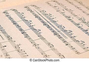 folha música, página, -, arte, fundo