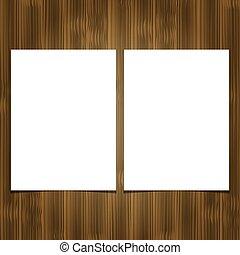 folha, madeira, dois, experiência., papel, em branco, branca