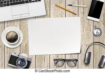 folha, madeira, papel, em branco, branca, tabela.