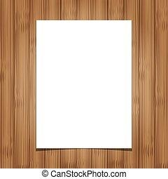 folha, madeira, papel, fundo, em branco, branca