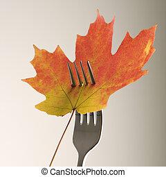 folha, maple, fork.