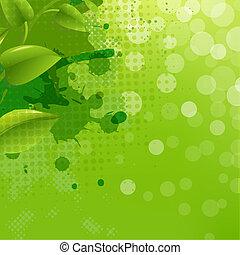 folha, natureza, verde, blob, fundo, borrão