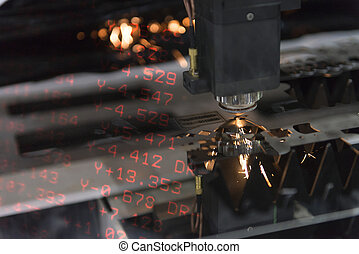 folha, numérico, metal, cena, máquina, positioning.abstract, corte, cnc, laser, nemerical, exposição, cortador