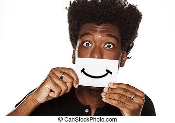 folha, papel, africano, desenhado, sorrizo, homem