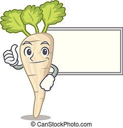 folha, personagem, cima, parsnip, tábua, raiz, caricatura, polegares