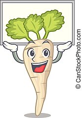 folha, personagem, cima, parsnip, tábua, raiz, caricatura