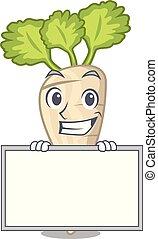 folha, personagem, parsnip, sorrindo, tábua, raiz, caricatura