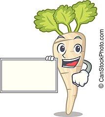 folha, personagem, parsnip, tábua, raiz, caricatura