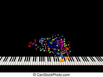 folha, piano, música