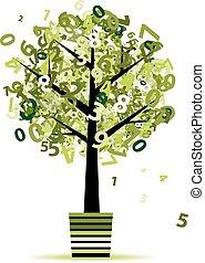folha, pote, números, árvore, seu, verde, desenho