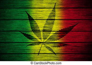 folha, rasta, marijuana, textura, bandeira, madeira, fundo, silueta
