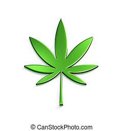 folha, render, cannabis, isolado, ilustração, experiência., ...