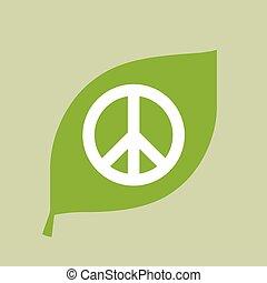 folha, sinal paz, vetorial, verde, ícone