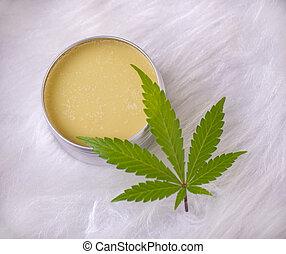 folha, sobre, marijuana, cannabis, fundo, cânhamo, branca, creme
