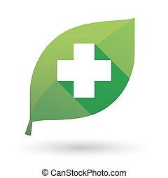folha verde, ícone, com, um, farmácia, sinal