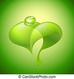 folha verde, com, gota dágua