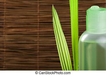 folha verde, cosmético, garrafa