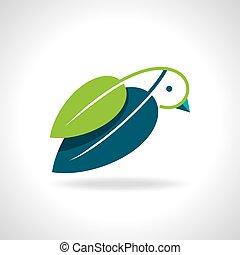 folha verde, pássaro, ícone
