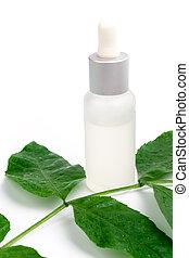 folha, verde, produtos, cosmético