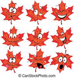folha, vermelho, mascote, maple