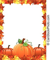 folhas, abóboras, borda, outono