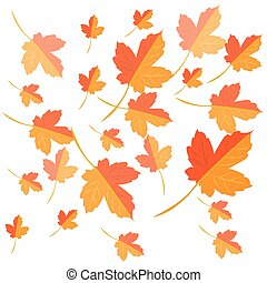folhas, amarela, outono, experiência., vector., queda, maple