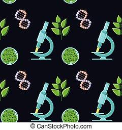 folhas, biologia, structure., plantas, microscópios, themed, moléculas, padrão, adn, seamless